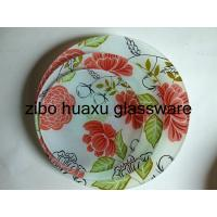 China tempered round glass plate with any desgin,recatangle,square flower side shape available15*15cm 20*20 25*25 30*30cm on sale