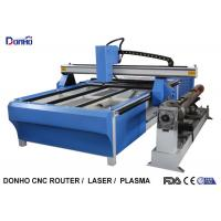 Blue CNC Plasma Metal Cutting Machine / Industrial Plasma Cutter With Rotary Axis