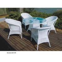 China 5-piece synthetic rattan wicker outdoor glass top restaurant dining furniture 4 armchairs-8016 wholesale