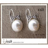 China 925 fashion sterling silver gemstone earrings with immitation pearl W-AS1009 wholesale