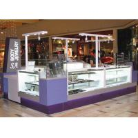 China Easy Install Jewelry Showcase Kiosk Attractive Purple Color Coating Wooden Material wholesale