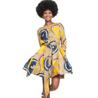 China Women Full  Lace-Up African Print Skirts , 100% Pure Cotton Dress Wax Printing wholesale