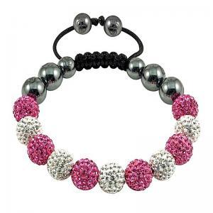 China Fashion Clay Crystal 10mm White and Pink Balls Shamballa Bracelets wholesale