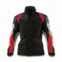 China Motorcycle Jacket with Polyester Shell Fabric, PU Coating and Detachable Quilted Lining wholesale