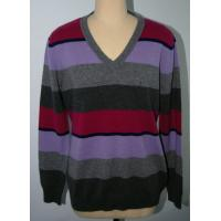 China V Neck Pure Merino Wool Stripe Men Knit Sweater Pullover  Classic Fitting Spinning 2/28nm Yarn wholesale