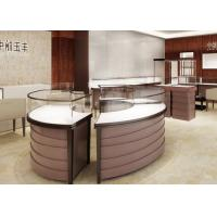 China Curve Locking Steel Wooden Retail Jewelry Display Cases Purple Coating Finish wholesale