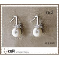 China 2012 hot selling 925 sterling silver gemstone earrings with imitated pearl W-AS936 wholesale