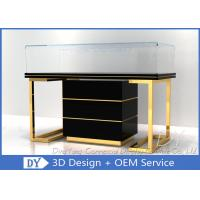 Quality Custom Commercial Mirror Gold Jewelry Display Case With Cabinet for sale