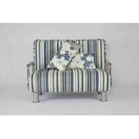 China 30KG Modern Home Sofa Bed Rounded Edges With Chrome Legs Armrest Blue And White wholesale