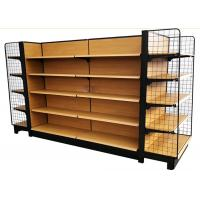 China wooden grain metal shelves grocery store double side supermarket shelf with 65 kg capacity wholesale