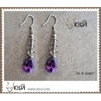 China Fashion design 925 sterling silver gemstone earrings with purple zircon W-AS867 wholesale