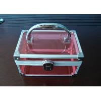 China Aluminum Handle Acrylic Storage Boxes Pink Acrylic For Cosmetics Display wholesale