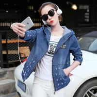 China Damaged Wash Ripped Womens Jean Jackets With Hoodie Wear Comfortable wholesale