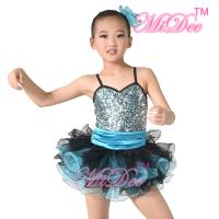 China Sequin Top Two Colour Pleated Tulle Skirt Spandex Kids Dance Clothes wholesale