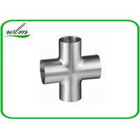 China 3A Standard Hygienic Long Tangent Cross Fittings Stainless Steel Butt Weld wholesale