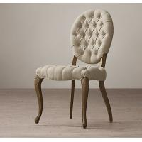 China Solid Oak Frame Fabric Dining Chair With Cabriole Front And Splayed Back Legs wholesale