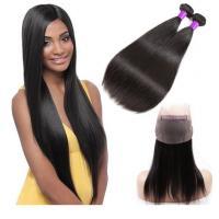 China Straight 360 Lace Frontal With Bundles / 100% Unprocessed Brazilian Human Hair wholesale