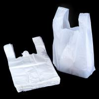 China White 100 Biodegradable Plastic Bags , T Shirt Shape Compostable Shopping Bags wholesale