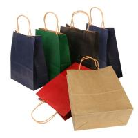 China Flat Bottom Personalized Brown Paper Bags With Paper Twisted Cord Handle wholesale