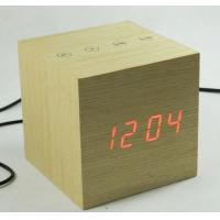 Quality LED digital wooden touch control desk clock for sale