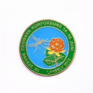 China Flowers Logo Soft Enamel Lapel Pins , Size Custom Die Struck Pins wholesale