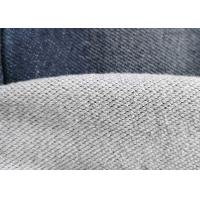 China Premium Cotton Blended Knitted Denim Fabric Double Layer French Terry Indigo wholesale