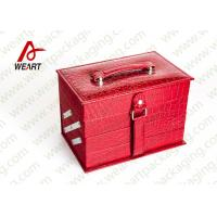 China Closed Red Round Makeup Customized Paper Box With Handle & Mirror wholesale