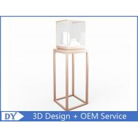 China OEM manufacturing high end stainless steel museum pedestal display case with led spot lights wholesale