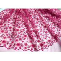 China Colored Handmade 3D Flower Lace Fabric , Scalloped Embroidered Mesh Lace Fabric wholesale