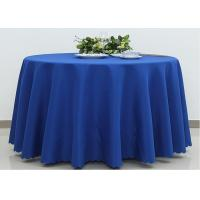 China Dark Blue Wedding Textile Round Linen Table Cloths , 90 / 108 Inch Round Tablecloth wholesale