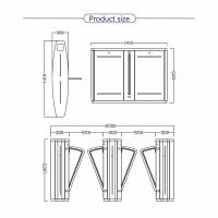 Turboo gate A221A: Stainless steel optical pedestrian flap barrier turnstile gate access control Factory direct price