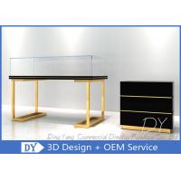Quality Wood Stainless Steel Jewelry Display Cases With Led Matte Black + Mirror Gold for sale