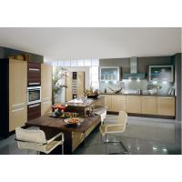 China Commercial Yellow Pvc Kitchen Cabinets With Island Bench L Shape Integrated Kitchen wholesale