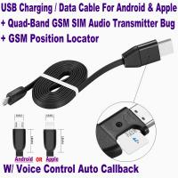 Quality New 3-In-1 USB Data Cable Android/iPhone+Hidden Spy GSM Remote Audio Listening for sale