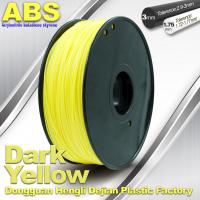 China Dark Yellow ABS  Filament ,  Filament 3D Printing Plastic Material 1.75 / 3mm wholesale