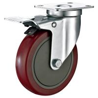 5X1-1/4 Industrial Trolley PU Caster Wheel With Total Locking Brakes Heavy Duty
