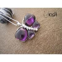 China Fashion Jewelry 925 Sterling Silver Gemstone Pendant with Purple Zircon W-VB965 wholesale
