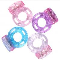 Quality Popular rubber Penis Vibrating Cock Ring in foil bags , pink blue black for sale