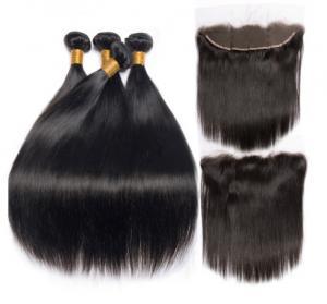 China 8''Indian Straight Bundles With Closure Virgin Hair Extensions Real Human Hair wholesale