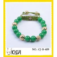 China Green and gold adjustable size crystal beaded bracelets with lower price wholesale