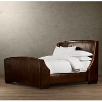 China Super king Warner Leather Upholstered Bed With Footboard and Nailheads wholesale