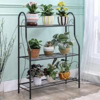 China H257 Flower Pot Metal Display Shelf Sturdy Metal Construction Black Paint Plated wholesale