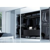 China Walk-in wardrobe closet with 3 track glass sliding doors wholesale