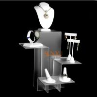 China Elegant Four Tier White Acrylic Display Stand , Retail Jewellery Display Stands Frost Platform Riser wholesale