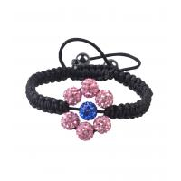 China 2012 new fashion light pink flower crystal bangle beads bracelet for anniversary, gift wholesale
