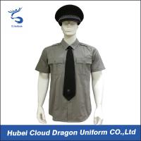 China Men / Women Long Sleeve Security Guard Shirts With 100% Cotton Materials , Dark Grey Color wholesale