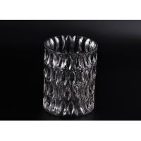 China Crystal Round Sunken Surface Glass Candle Jar Glass Candlestick Holders wholesale