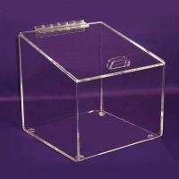 China Square 3mm Clear Acrylic Storage Boxes High Quality Donation with Lock wholesale