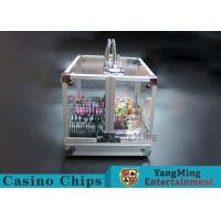 Quality 600PCS Double Open Handle Texas Chip Box / Aluminum Alloy Frame High Transparency Chess Room for sale