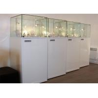 China Material Wooden White Lighting Retail Glass Display Cases / Museum Glass Case wholesale